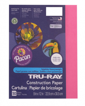 "Tru-Ray Sulphite Construction Paper-Dark Pink (9""x 12"") 50 sheets"