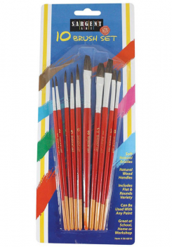 Brush Assortment-10 brushes (5 flats, 5 round