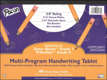 Multi-Program Handwriting Tablet - Conforms to Zaner-Bloser Grade 1, D' Nealian Grade K(40 Sheets)