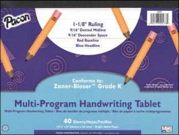 Multi-Program Handwriting Tablet - Conforms to Zaner-Bloser Grade K (40 Sheets)