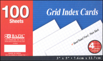 "3"" x 5"" Quad Ruled White Index Cards - 100 Ct"