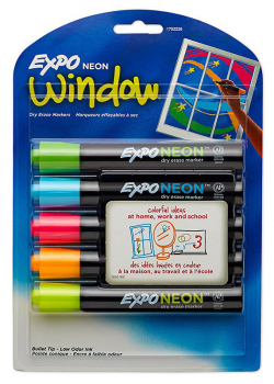 Expo Neon Bullet Dry Erase Markers - 5 on Card (Pink, Orange, Yellow, Blue, Green)