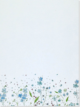 Blue Flowers Stationery Set
