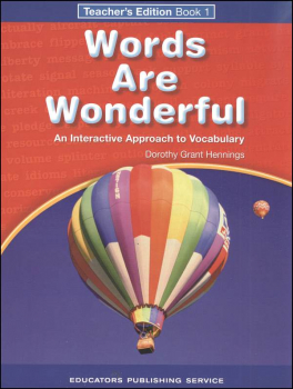 Words Are Wonderful Teacher's Edition Book 1