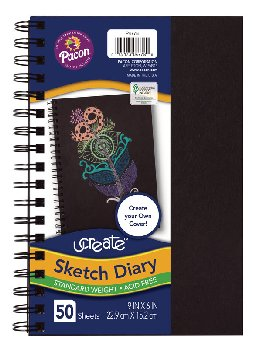 "uCreate Create Your Own Sketch Diary Black Cover (9"" x 6"")"