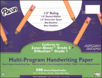 "Multi-Program Handwriting Ream D'Nealian (1) / Zaner-Bloser (2) - 1/2"" Ruled"
