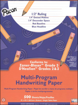 "Multi-Program Handwriting Ream D'Nealian (2-3) / Zaner-Bloser (2) - 1/2"" Ruled (Short)"