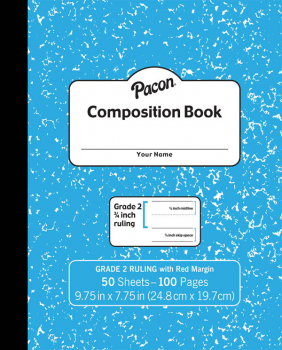 Pacon Composition Book Soft Cover, Ruled - Blue Marble (50 sheets)