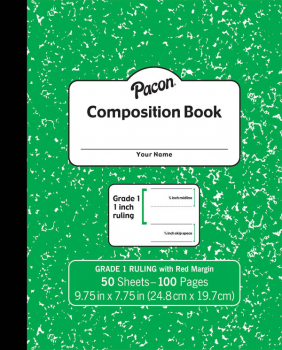 Pacon Composition Book Soft Cover, Ruled - Green Marble (50 sheets)