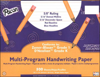 "Multi-Program Handwriting Ream D'Nealian (K) / Zaner-Bloser (1) - 5/8"" Ruled"