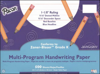 "Multi-Program Handwriting Ream Zaner-Bloser K - 1-1/8"" Ruled"