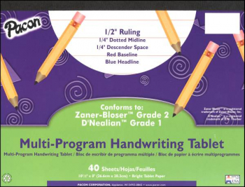 "Multi-Program Handwriting Tablet D'Nealian (1) / Zaner-Bloser (2)  - 1/2"" Ruled"