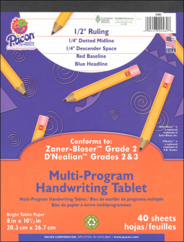 "Multi-Program Handwriting Tablet D'Nealian (2-3) / Zaner-Bloser (2) - 1/2"" Ruled (Short)"