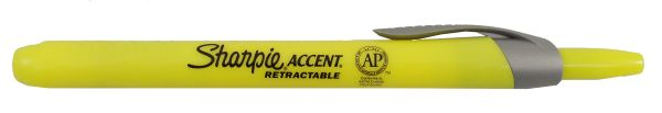 Sharpie Accent Retractable Highlighter With Smear Guard - Fluorescent Yellow