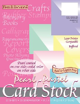 "Pearl Pastel Cardstock 8½"" x 11""  (50 Sheets, Assorted Colors)"