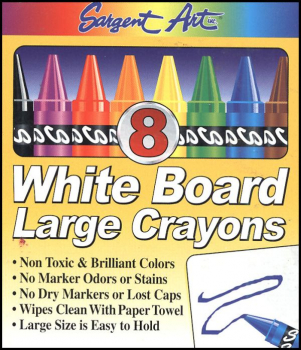 White Board Crayons Large Size - Set of 8 (Assorted Colors)