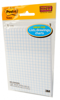 "Post-It Super Sticky Notes 4"" x 6"" White with Grid 2-pack 50 Sheets"