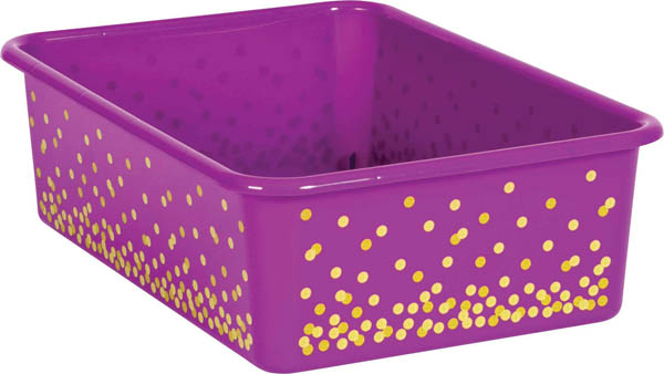 Purple Confetti Large Plastic Storage Bin