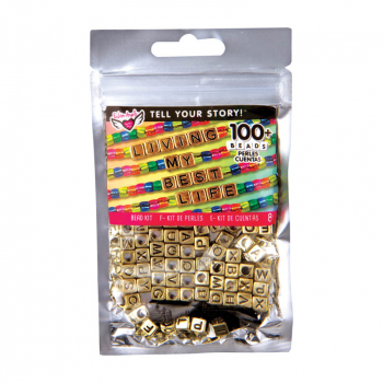 Tell Your Story: Alphabet Bead Bag - Gold Cubes