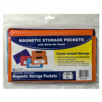 Magnetic Storage Pockets with Write-On Panel, Assorted, 4-pack