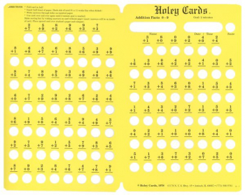 Holey Card Addition Facts w/ answers 0-9