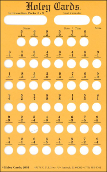 Holey Card Subtraction Facts w/ answers 0-9