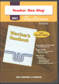 Holt Traditions Warriner's Handbook Teacher's One-Stop Planner CD-ROM First Course Grade 7
