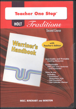 Holt Traditions Warriner's Handbook Teacher's One-Stop Planner CD-ROM Second Course Grade 8