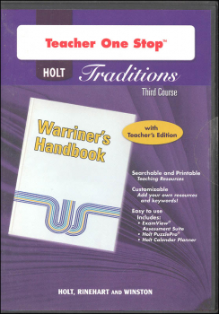 Holt Traditions Warriner's Handbook Teacher's One-Stop Planner CD-ROM Third Course Grade 9