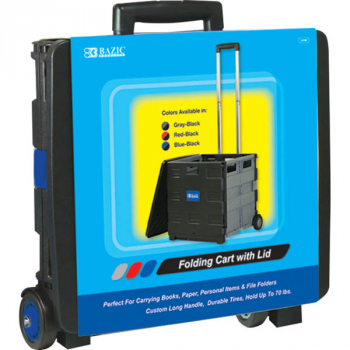 "Blue Folding Cart on Wheels with Lid Cover (16""x18""x15"")"
