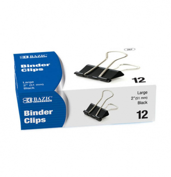 "Binder Clips (2"") Box of 12 Large, Black"