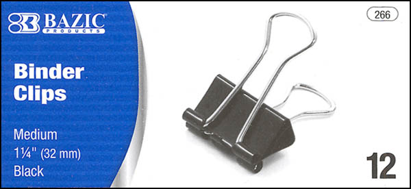 "Medium Black Binder Clips (1 1/4"") Box of 12"