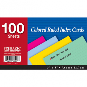 "Ruled Colored Index Cards (3"" x 5"") 100 Count"