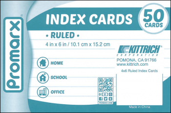 "Ruled White Index Cards ( 4"" x 6"") 50 Count"