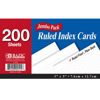 "Ruled White Index Cards (3"" x 5"") 200 Count"