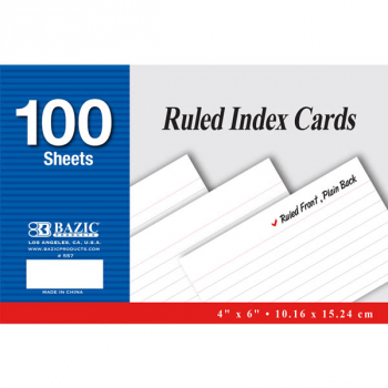 "Ruled White Index Cards (4"" x 6"") 100 Count"