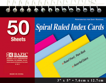 "Spiral Bound 3"" x 5"" Ruled Colored Index Cards - 50 Count"