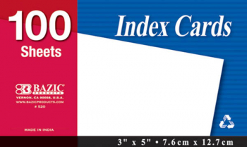 "Unruled White Index Cards (3"" x 5"") 100 Count"
