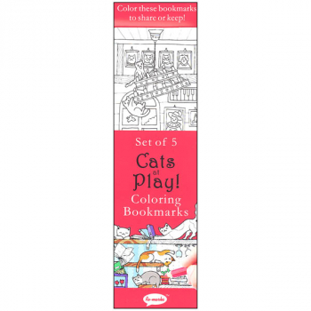 Coloring Bookmarks Cats at Play (set of 5)