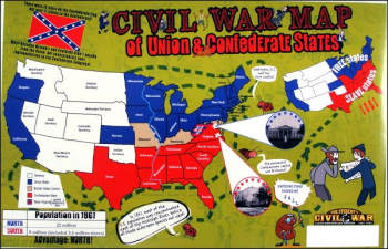 Civil War Map of Union & Confederate States Poster