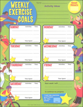 Weekly Exercise Goals Chart (25 Sheets Per Pad) with Stickers