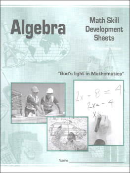Algebra Math Skill Development Worksheets