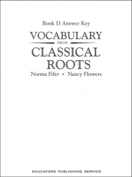 Vocabulary From Classical Roots D Answer Key Only