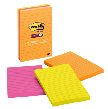 "Post-It Super Sticky Notes 4"" x 6"", Lined, Rio de Janeiro Collection, 3 Pads/90 Sheets"