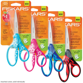 "Fiskars Softgrip Left-Handed Student Scissors 7"" (Assorted Color)"
