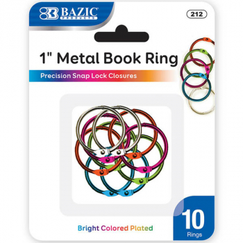 "1"" Assorted Color Metal Book Rings - 10 Pack"