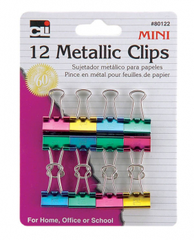 Mini Binder Clips: Metallic Assorted Colors