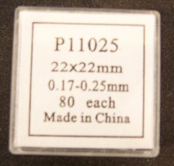 Cover Glass 22x22MM, no.2 thickness, 80pk