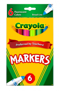 Crayola Broad Line Markers Fluorescent 6 Count