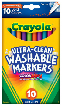 Crayola Ultra-Clean Washable Fine Line Markers - Bold 10 Count